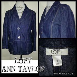 Ann Taylor LOFT Jean Denim Blazer Jacket sz 12